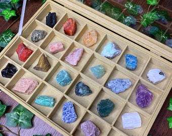 Raw Crystal Collector's Box | Crystal Kit | Crystal Gift Set | Meditation Altar, Crystal Gift Box, Crystal Collection | Mayan Rose