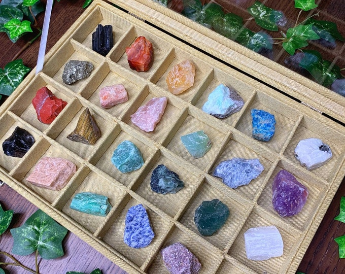 Featured listing image: Raw Crystal Collector's Box | Crystal Kit | Crystal Gift Set | Meditation Altar, Crystal Gift Box, Crystal Collection | Mayan Rose