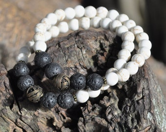 Unisex Bracelet - Howlite & Lava Rock with Antique Gold Accent Bead - Men's Jewelry, Bracelet for Men, Yoga Meditation Spiritual Jewelry