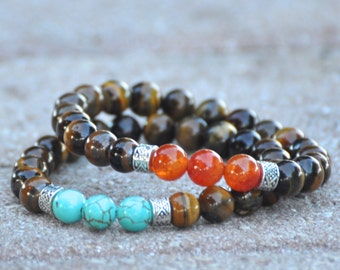 Unisex Tiger Eye Bracelet - Choose Fire Agate or Turquoise Howlite - Men's Jewelry, Bracelet for Men, Men's Fashion Accessories