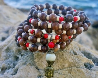 108 Mala Beads | Coral, Wood & Howlite Mala | Mala Bracelet, Meditation Beads, Buddha, Prayer Beads, Yoga Bracelet, Wrap Bracelet
