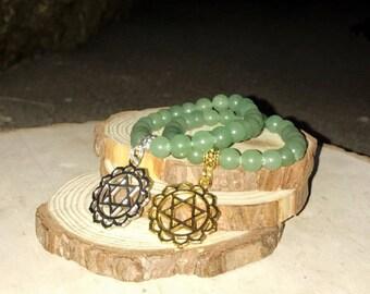 HEART Chakra Bracelet - GREEN AVENTURINE  Love & Prosperity | Fourth 4th Chakra Anahata | 7 Chakras Bracelet | Sacred Geometry | Mayan Rose