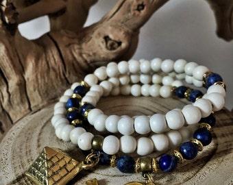 Egyptian Mala Beads | Unisex Lapis Lazuli & White Wood 108 Bead Ankh Necklace | Pharaoh Pyramid Horus JapaMala Meditation Yoga Prayer Rosary