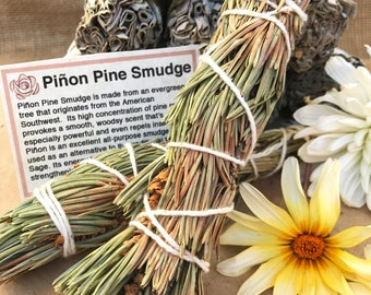PIÑON PINE SMUDGE Stick | Sage Bundle for Ceremony, Meditation Altar, Home Cleansing, Positive Energy, Cleanse Negativity,Wicca smudging Kit