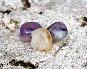 PISCES Set of 3 Crystals Amethyst, Fluorite, Citrine | Tumbled Gemstones For Astrology, Zodiac, Meditation Yoga, February March Birthday