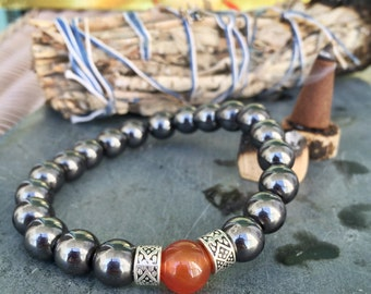 Men's Bracelet | Hematite & Carnelian Jewelry for Men | Unisex / Mens | Root Chakra | For Balance Power Strength