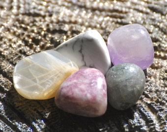 THIRD EYE 6th Sixth Chakra Crystal Set - Ajna Grade A Natural Tumbled Polished Gemstones - Amethyst, Lepidolite, Labradorite, Moonstone
