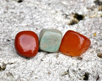 VIRGO Set of 3 Crystals Tumbled Gemstones | Carnelian, Red Jasper, Amazonite | Astrology Zodiac Meditation Yoga, August September Birthday