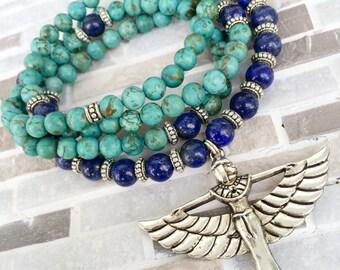 108 Mala Beads | Lapis Lazuli & Turquoise Howlite Mala Egyptian Goddess Isis | Meditation Prayer Beads, Yoga Rosary, Mayan Rose MayanRose