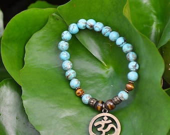 OM Bracelet - Turquoise Howlite & Tiger Eye with Brass Om Symbol Charm - Yoga Meditation  Spiritual Jewelry