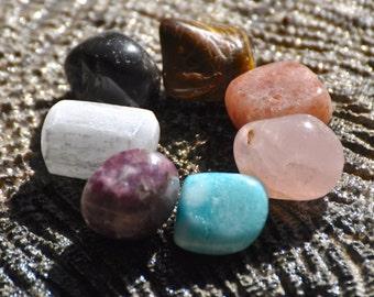 7 CHAKRAS Crystal Healing Set #2: Onyx Tiger Eye Sunstone Rose Quartz Blue Aragonite Lepidolite Selenite | Meditation Yoga | Seven Chakras