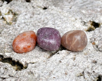 LIBRA Set 3 Crystals | Sunstone, Moonstone, Lepidolite | Tumbled Gemstones | Astrology Zodiac Meditation Yoga | September October Birthday
