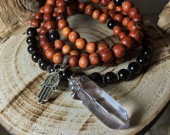 GARNET Mala Beads | Clear Quartz Necklace | 108 Mala Beads Japa Mala | Unisex Mala Necklace, Yoga Meditation Prayer Beads Rosary, Mayan Rose