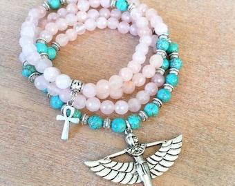 108 Mala Beads | Pink Rose Quartz & Turquoise Howlite Mala with Egyptian Goddess Isis Charm | Meditation Prayer Beads Yoga Rosary Mayan Rose