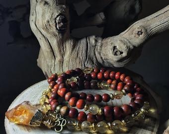 CITRINE Mala Beads | 108 Mala Necklace | Japa Mala | Unisex Wood Gemstone Mala, Yoga Meditation Prayer Beads Rosary, Mayan Rose