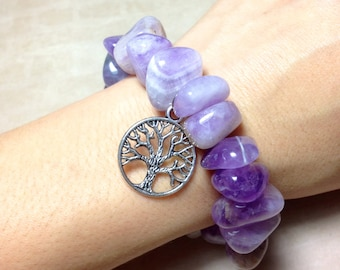 AMETHYST Bracelet - THIRD EYE Anja Chakra -Choose Charm: Hamsa Hand, Yoga Om Symbol Namaste, Tree of Life - 6th Chakra Natural Stone Tumbled