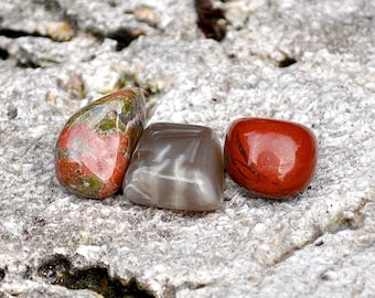 SCORPIO Crystal Set  - Red Jasper, Moonstone, Unakite - Tumbled Gemstones for Astrology Zodiac, Meditation, Yoga, October November Birthday