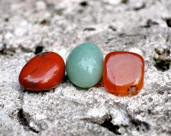 ARIES Set of 3 Crystals | Red Jasper, Carnelian, Green Aventurine | Gemstones For Astrology Zodiac, Meditation Yoga, March April Birthday