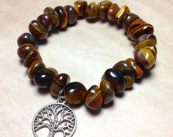 TIGER EYE Bracelet - Solar Plexus Chakra - Choose Charm: Hamsa Hand, Yoga Om Symbol Namste, Tree of Life- 3rd Chakra Natural Polished Stone