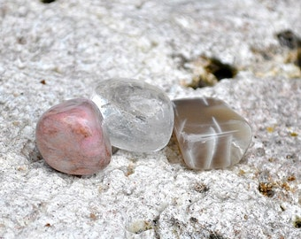 CANCER Set of 3 Crystals | Moonstone, Rhodonite, Clear Quartz | Gemstones for Astrology Zodiac, Meditation Yoga, June July Birthday