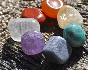 7 CHAKRAS Gemstone Set #1 Red Jasper, Carnelian, Citrine, Amazonite, Blue Aventurine, Amethyst, Crystal Quartz | Reiki, Healing, Mayan Rose