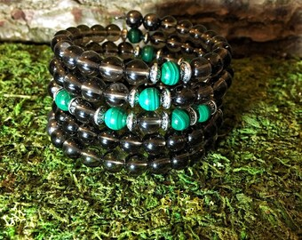 MALACHITE & SMOKY QUARTZ Mala Bracelet | 108 Mala Beads | Unisex Wrist Mala | Mala Bracelet | Yoga Meditation Prayer Beads