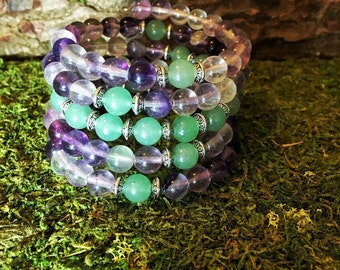 FLUORITE & GREEN AVENTURINE Mala Bracelet | Meditation Beads Wrist Mala Prayer Beads | Yoga Jewelry | Crystal Healing Heart Chakra Third Eye