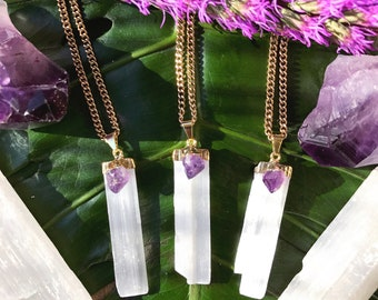 SELENITE & AMETHYST Crystal Necklace on Antique Gold Chain | Natural Selenite Blade Pendant, Crystals for Intuition, Stress Relief, Anxiety
