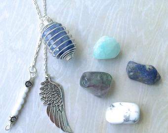 5th THROAT CHAKRA 5-in-1 Gemstone Necklace Set w Blue Aventurine Howlite Sodalite Flourite Blue Aragonite (Truth & Expression) Fifth Chakra
