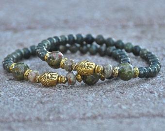 Unisex Buddha Bracelet - Green Jasper & Unakite - Men's Meditation Jewelry, Zen Bracelet for Men, Heart Chakra, 4th Fourth Chakra, Yoga