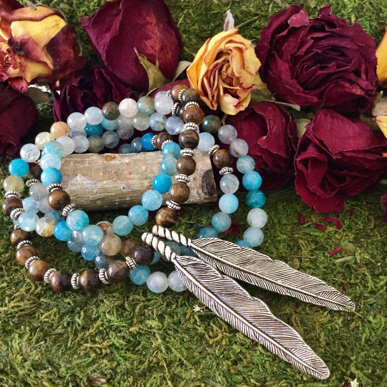 Yoga Beads Feather Necklace Yoga Mala for Meditation by MayanRose Blue Agate Tiger Eye 108 Bead Mala w Native American Tribal Feathers