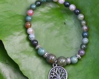 Tree of Life Bracelet - Fancy Jasper - Healing & Happiness Bracelet - Flower of Life - Yoga Bracelet , Spiritual, Chakra  - Green Jasper