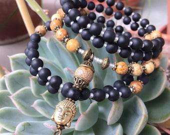 108 Mala Beads | UNISEX | Mens | Onyx & Jasper Wrist Mala - Mala Bracelet, Meditation Beads Prayer Beads, 108 Mala, Buddha Mala, Memory Wire