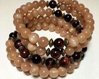 SUNSTONE & RED TIGER Eye Mala Bracelet | 108 Mala Beads | Wrist Mala | Mala Bracelet | Yoga Meditation Prayer Beads | Wrap Bracelet