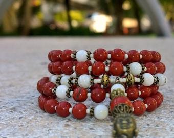 108 Mala Beads - Red Jasper & Mother of Pearl Wrist Mala - Mala Bracelet, Meditation Beads, Yoga Beads, Prayer Beads, 108 Mala, Buddha Mala
