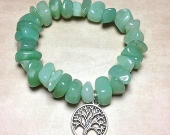 GREEN AVENTURINE Bracelet - Heart Chakra -Choose Charm: Hamsa Hand, Yoga Om Symbol Namaste, Tree of Life - 4th Chakra Natural Stone Tumbled