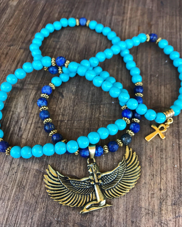 LAPIS LAZULI & TURQUOISE Mala Beads Necklace | Egyptian