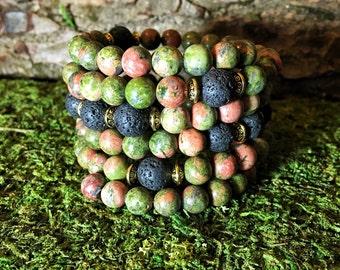 UNISEX MALA Unakite & Lava Beads Mala Bracelet | 108 Mala Beads | Unisex Wrist Mala | Yoga Beads Meditation Beads | Mala for Men, Men's Mala