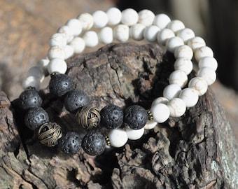 Unisex Bracelet - Howlite & Lava Rock with Antique Gold Accent Bead - Men's Jewelry, Bracelet for Men, Yoga Meditation Spiritual Jewelry