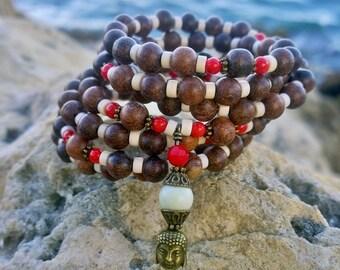 108 Mala Beads | Coral, Wood & Howlite Mala | Mala Bracelet, Meditation Beads, Buddha, Prayer Beads, Yoga Bracelet, Wrap Bracelet