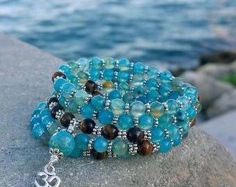 108 Mala Beads - Blue Agate & Tiger Eye Wrist Mala - Mala Bracelet, Meditation Beads, Om Aum, Memory Wire Bracelet, Mayan Rose MayanRose