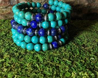 TURQUOISE HOWLITE & LAPIS Lazuli Mala Beads | Wrist Mala Bracelet for Yoga Meditation | Blue Prayer Beads | Unisex Malabeads