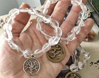 CLEAR QUARTZ Bracelet - Crystal Healing for Crown 7th Chakra | Charm: Hamsa Hand, Yoga Om Aum Namaste, Tree of Life, Ankh Cross