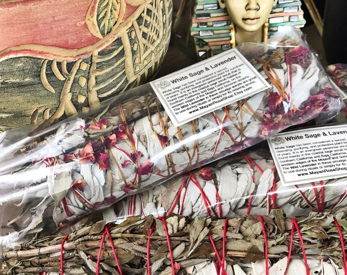 Featured listing image: JUMBO WHITE Sage & LAVENDER Smudge Stick | Large Sage Bundle | Meditation, Altar, Home Cleansing, Positive Energy, Cleanse, Wicca Smudge Kit