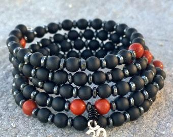 108 Mala | Unisex Men's | Onyx Hematite & Red Jasper Wrist Mala Beads | Mens Yoga Bracelet, Mala Bracelet, Meditation Beads, Prayer, Om Mala