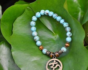 OM Bracelet - Turquoise Howlite & Tiger Eye with Brass Om Symbol Charm - Yoga Meditation  Spiritual Jewelry