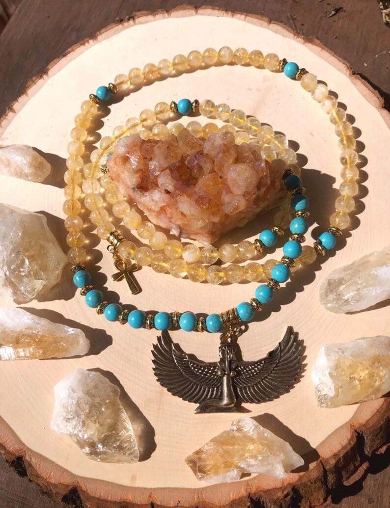 CITRINE & TURQUOISE HOWLITE Mala Beads with Egyptian Goddess Isis | Crystal  Healing 108 Bead Mala for Meditation, Yoga, Prayer Beads, Ankh