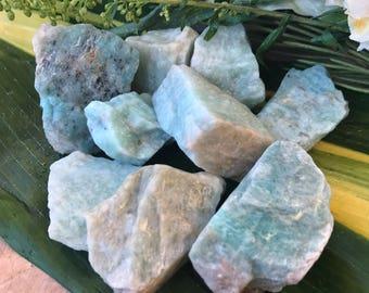 Raw AMAZONITE Large (Grade A Natural) Rough Green Crystals Stones Gemstone   Healing Yoga Meditation Reiki Wicca   Heart Chakra Anahata