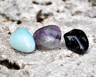 CAPRICORN Set of 3 Crystals   Onyx, Fluorite, Blue Aragonite   Tumbled Gemstone   Astrology Zodiac Meditation Yoga December January Birthday