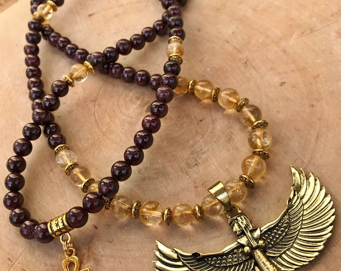 Featured listing image: GARNET & CITRINE Mala Beads with Egyptian Goddess Isis | Crystal Healing 108 Bead Mala for Meditation, Yoga, Prayer Beads, Ankh Necklace